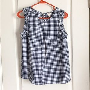 NEW Blue and White Gingham Ruffle Sleeveless Top
